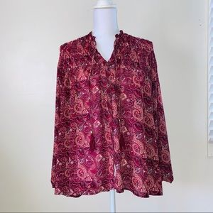 4 for $20 Beautiful high low pink-burgundy tunic.